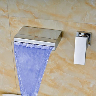 Llave Grifo Cascada Baño Con Luz Led A Muro Pared Eva1