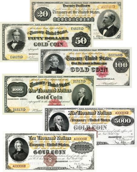 Lote 06 Réplicas Cédulas Dollares Gold Certificate 1882