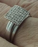 Anel Chuveiro Com Diamantes Em Ouro Branco 18k 750 Aro17.5