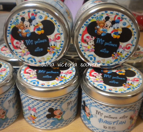 Mickey Y Minnie Mouse Latas Personalizadas 7,5x8 Pack X10