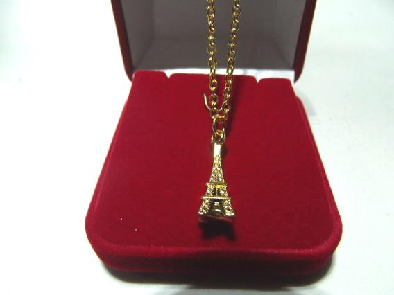 Colar Torre Eiffel Banho Ouro 18 K + Caixa + Frete Grátis
