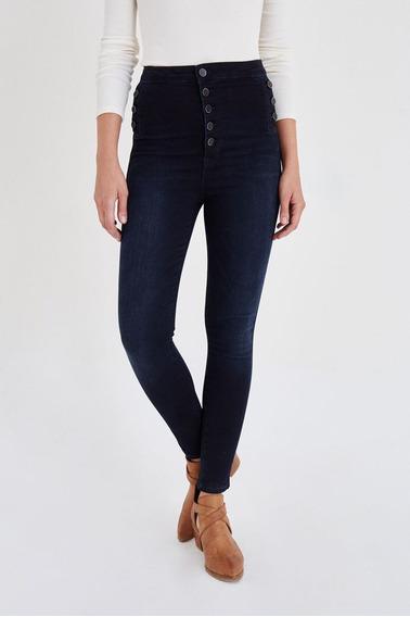 Calças (feminino) Blue Skinny Jean With Button Detailed