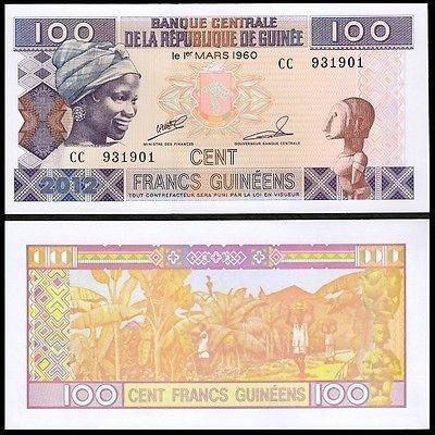 Uma Cédula De 100 Francs Da Guiné Flor De Estampa Fe Arremat