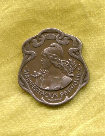 Medalla Bronce Art Nouveau Manifestación Patriótica 1907 Ex