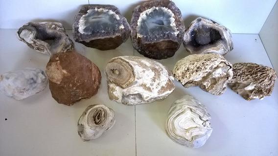 Coleção Geodo Ágata Natural Preenchida Em Quartzo Com 11 Pçs