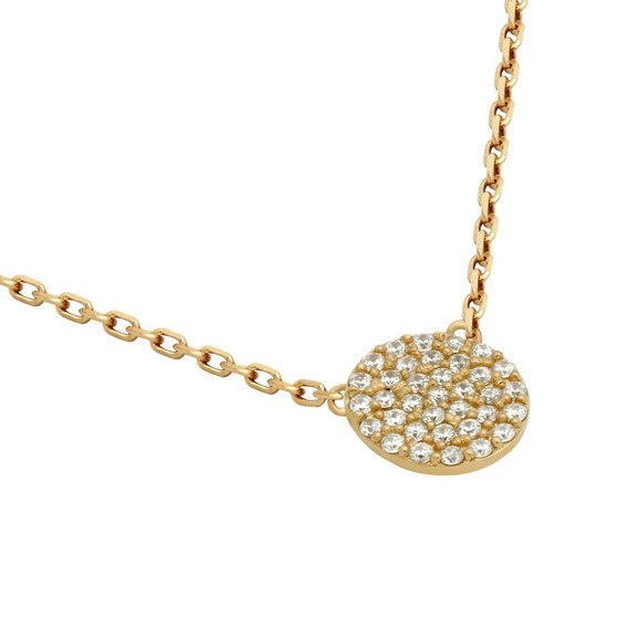 Rose Gold Plated Cz Pave Disk Necklace 9mm