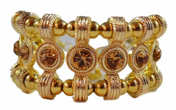 Bracelete Dourado Com Strass Dourado