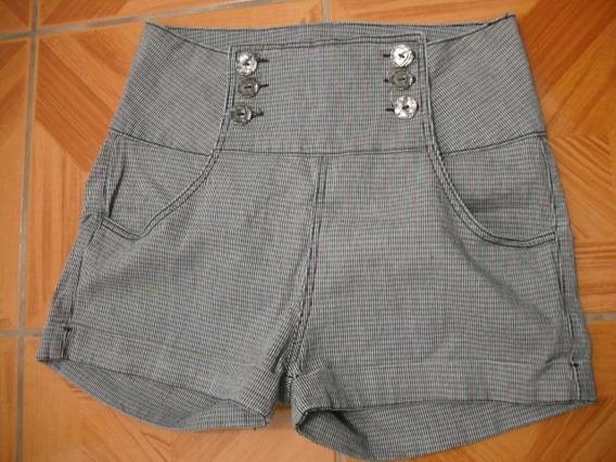 Shorts Cintura Alta Botões Militar Tam 42 Ótimo Estado
