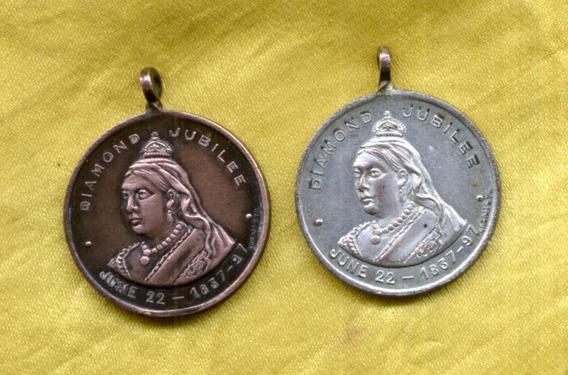 Lote 2 Medallas Grant Y Sylvester Diamond Jubilee 1837-97