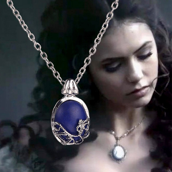 Colar Vampire Diaries Katherine Elena Cosplay Em Prata