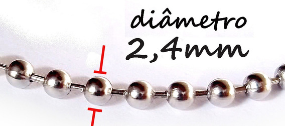 4 Correntes Colar Aço Cirúrgico Bolinha 2,4mm 60cm