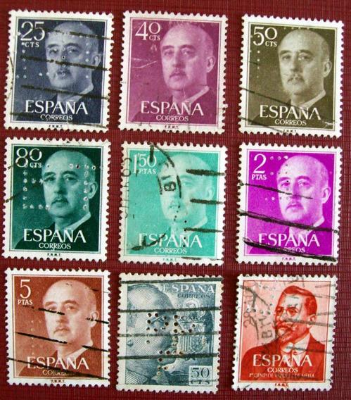 España - Lote 9 Sellos Perforados Diferentes Usados L3322