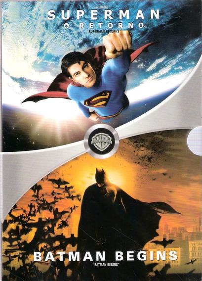 Box Super Man, O Retorno E Batman Begins- Dvds Original Novo
