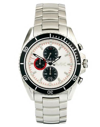 Relógio Michael Kors Mk8339 Lansing Orig Chron Anal Silver