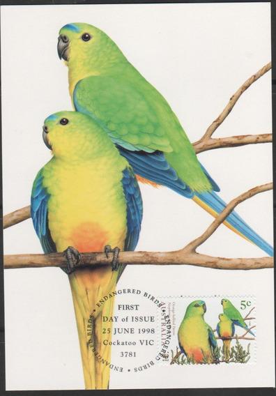 Papagaios - Australia - Cartão C/selo 1º Dia - 152