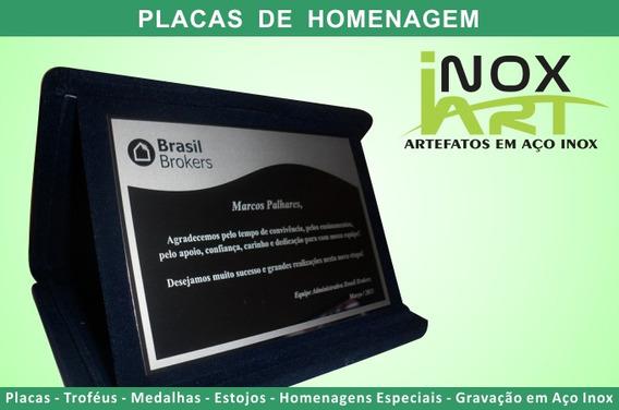 Placa De Homenagem Em Aço Inox E Estojo De Veludo - 19x14cm