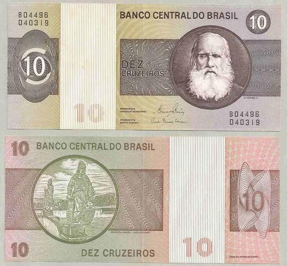 Linda Cédula 10 Cruzeiros 1980 C-141 Nota Dinheiro Antigo