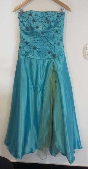 Vestido Largo Outiriella Alta Costura Turquesa Rasado M