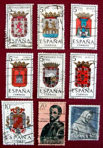 España - Lote 9 Sellos Perforados Diferentes Usados L3321