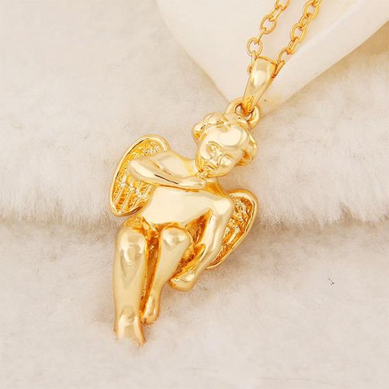 Colar C\ Pingente Anjo Querubim Banho Ouro 18 K