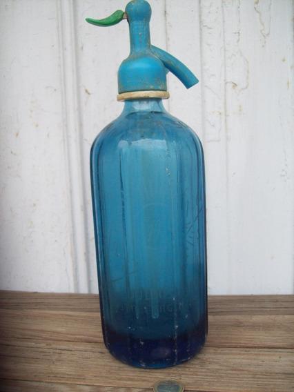 Antiguo Sifon Vidrio Azul Soda La Argentina