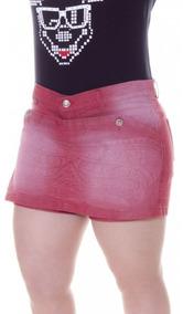 Short Saia Rosa Plus Size Modelo Étnico Com Elastano Tam. 50
