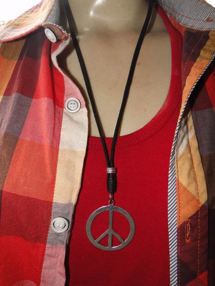 Cordão De Couro Com Simbolo Da Paz Cor Prata Tamanho G