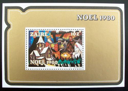 Zaire Arte, Bloque Sc. 1004 Navidad 1980 Mint L6633