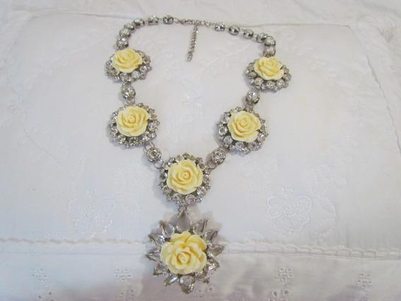 Colar Pedraria Cristal E Flores - D&g Inspired