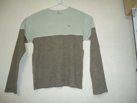Sweater Pulover Lacoste Beige Con Marron Talle M
