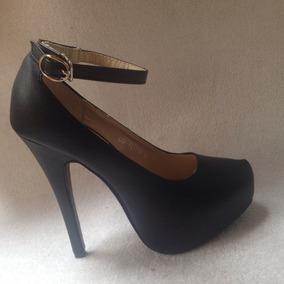 Hermoso Zapato Negro Plataforma Modelo Pulsera . N 35/36.