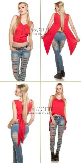 Top Cropped Blusa Regata Feminina Mullet Moda Blogueira