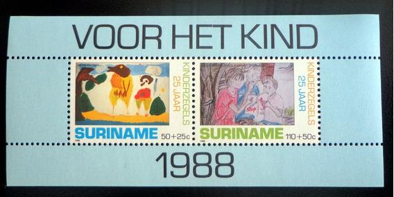 Surinam Infantil, Bloque Sc. B370a Ayuda 1988 Mint L8753