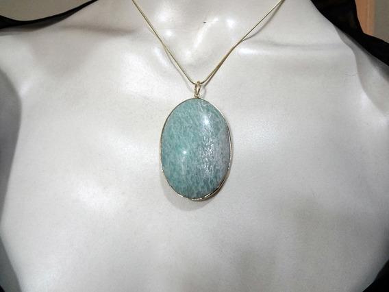 Pedra Amazonita - Colar Folheado A Ouro