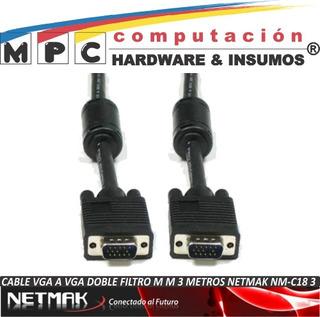 Cable Vga A Vga Doble Filtro M M 3 Metros Netmak Nm-c18