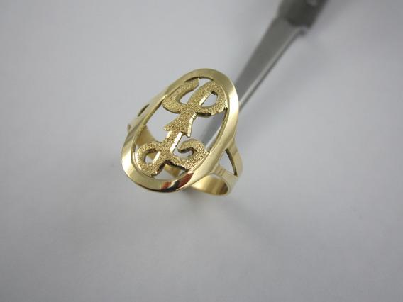 Vultoso Anel De Ouro - Letra L - 3.95gr - 18k