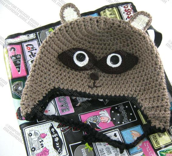Gorras Mapache Tejidas Estambre Crochet Para Adulto Y Bebé