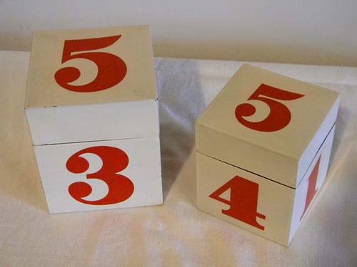 Hermosas Cajas Dado Decorativas Años 70, Vintage. Dos Cubos