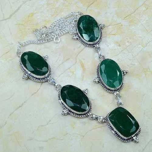 Colar Feminino Prata Pedra Natural Esmeralda Indiana