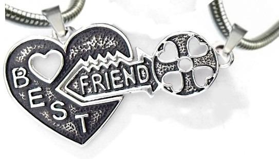 Corrente Best Friends Coração Chave 2 Pingentes Amizade