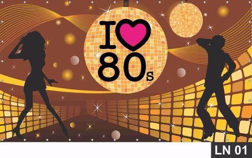 Imagem 1 de 6 de Anos 80 Painel 3,00x1,70m Lona Festa Banner Aniversári