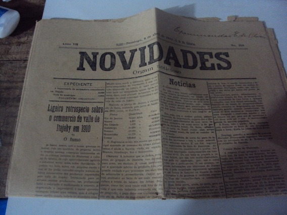 Jornal Novidades Orgam Noticioso Itajahy 9 De Abril De 1911