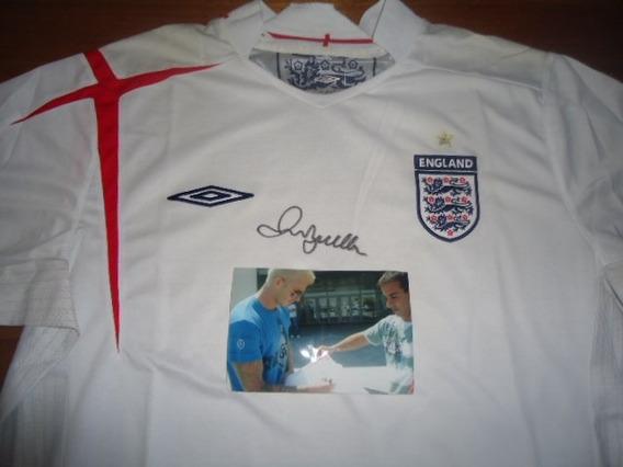 Autografiada!! Camiseta Inglaterra Umbro Firmada Beckham