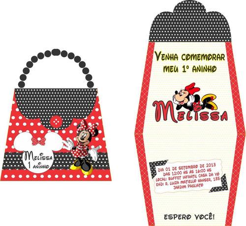 Imagem 1 de 1 de 30 Convites Bolsinha Minnie Vermelha, Qualquer Tema