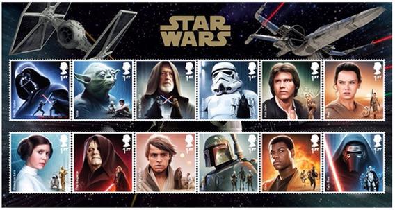 12 Selos De Star Wars Oficial Correio Britânico (royal Mail)