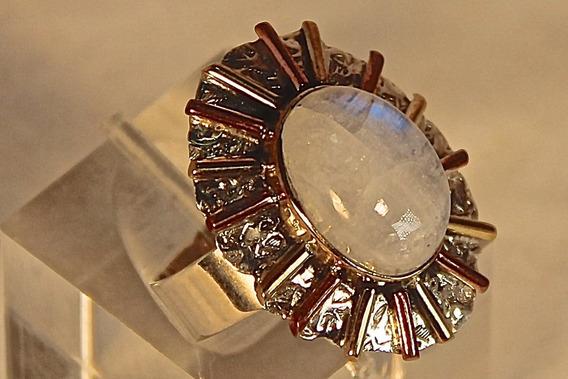 Rsp J2894 Anel Prata 925 Envelhecida Pedra Da Lua Mística