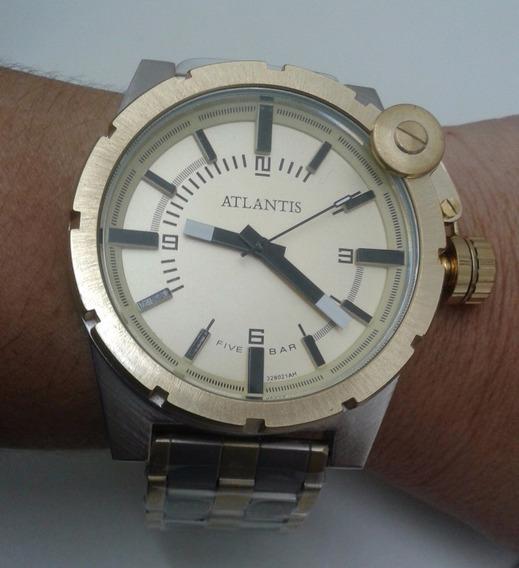Relógio Atlantis Masc Dourado Pulseira Metal Prata/dourado