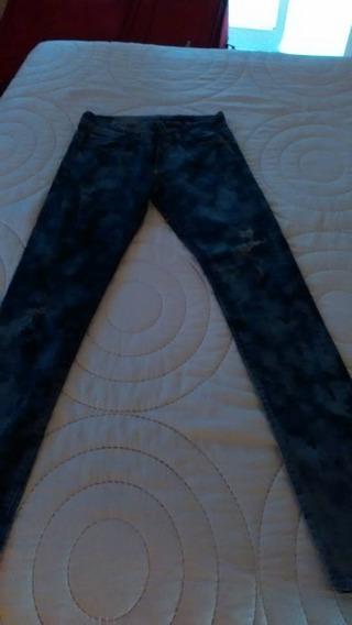 Jeans Etiqueta Negra,original Con Tajos Nro. 38 Como Nuevo.
