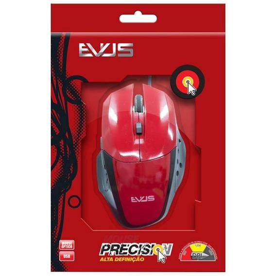 Mouse Óptico Gamer Evus Precision Vermelho Usb 1.600dpi