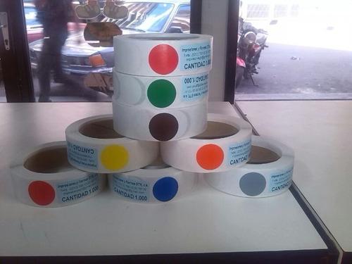 Rollo De 1000 Etiquetas De Puntos De Color 3 Cms.